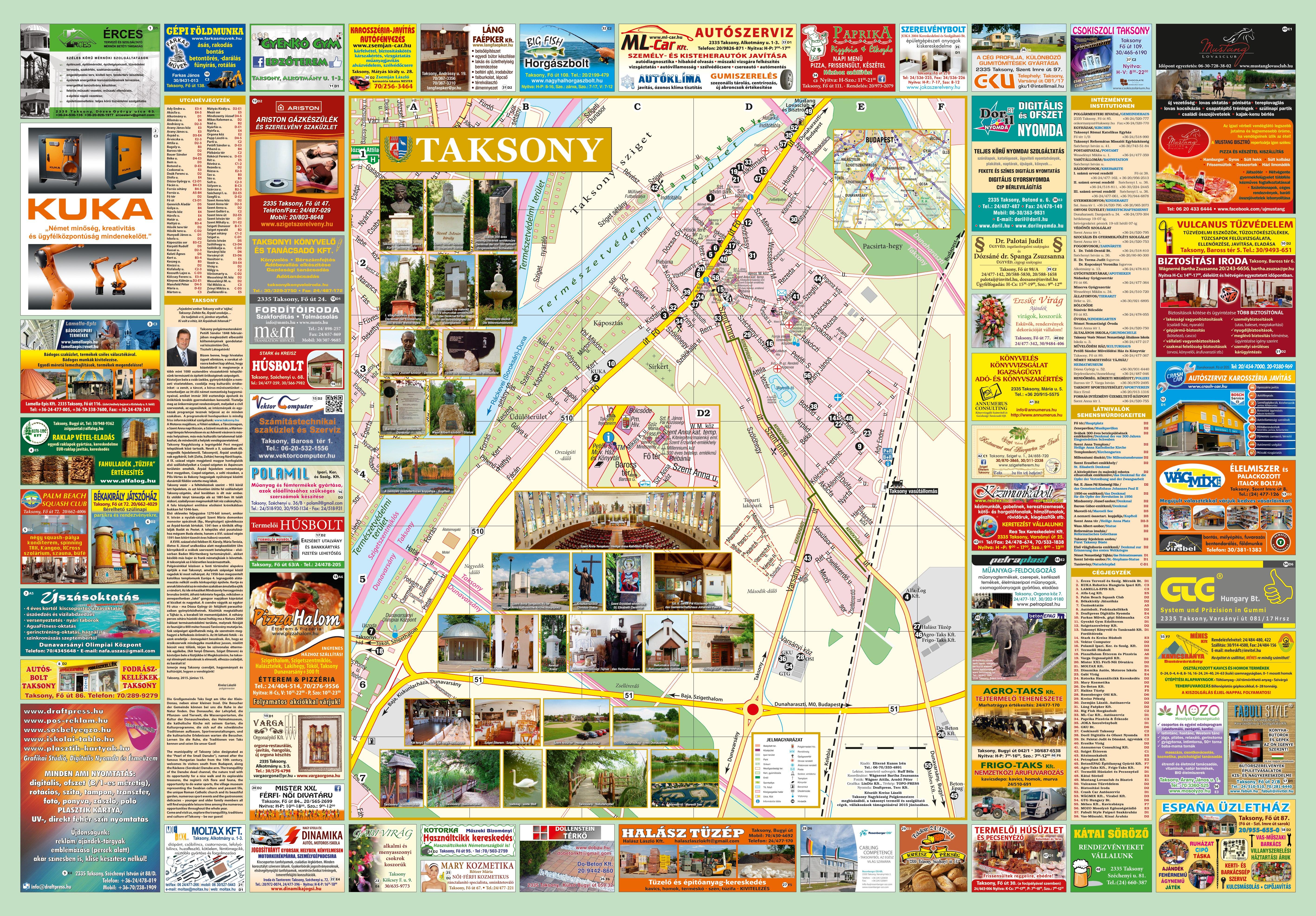 Taksony nagy térkép (látnivalók, vállalkozások)
